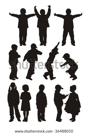 Composition from twelve children's silhouettes. Nine silhouettes of boys and three silhouettes of girls. They are located on a white background. - stock vector