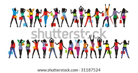 Composition from twenty nine female figures. All figures are dressed in summer clothes. In hands at them a bag with purchases. - stock vector