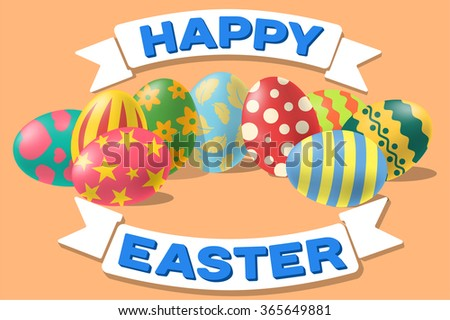 composition happy easter eggs and ribbons - stock vector
