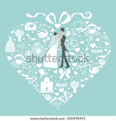 Composition in the shape of  heart with  bow on top.Set of  cute wedding items with  bride and groom. Design template wor wedding invitations.Retro vector - stock vector