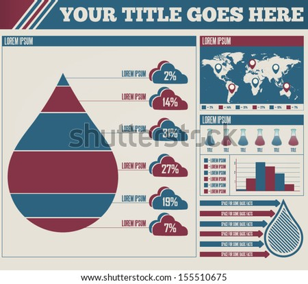 Composition of a raindrop infographic with elements. - stock vector