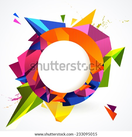 Composition of colorful round frame and geometric design elements. - stock vector