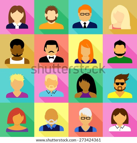Composition of people icons set - stock vector