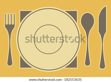 Composition of tableware elements, isolated on color background.
