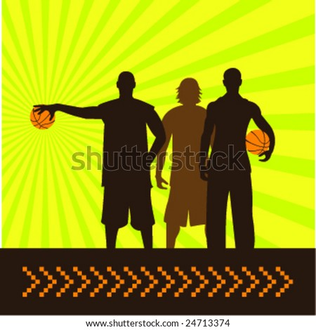 composition of three basketball players - stock vector