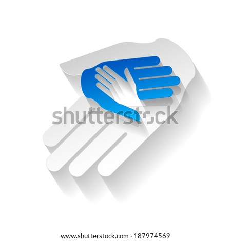 Composition of three hands in paper style as symbol of help and teamwork  - stock vector