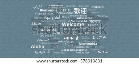 Composition welcome messages many different written stock vector composition of welcome messages in many different written languages with stripes world map on sciox Images