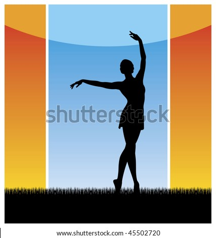 Composition with a female silhouette. The woman dances on a grass with the hands lifted upwards. Behind it there is a blue sky. - stock vector