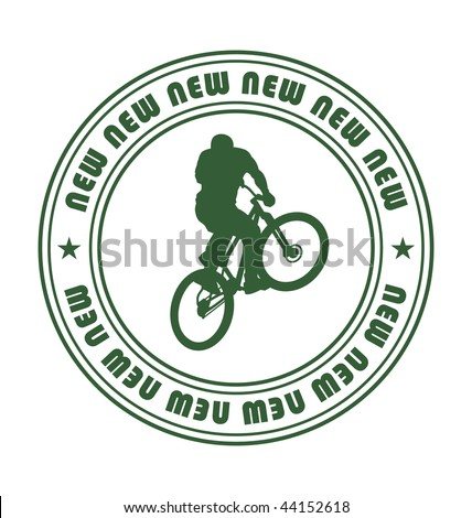 Composition with a round emblem. In the centre the silhouette of the bicyclist is located. Near to it two stars are located. - stock vector