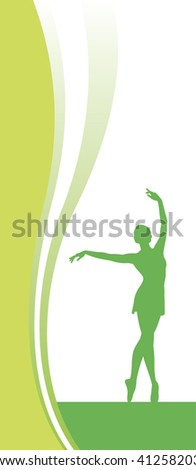 Composition with a silhouette. In the centre the female figure is located. She dances with the lifted hands. - stock vector