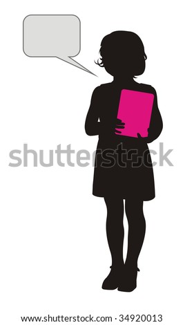 Composition with a silhouette of the girl. In hands it holds the pink book. Near to it a free field for the text. - stock vector
