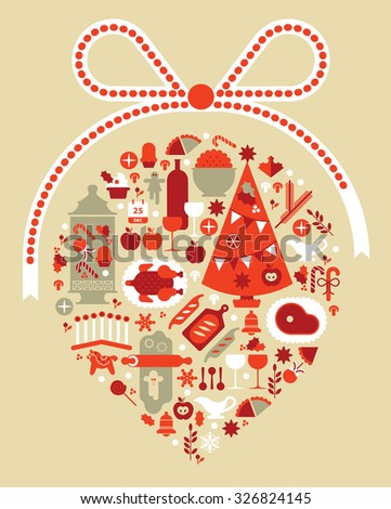 Composition with Christmas dinner symbols in a shape of crystal ball. - stock vector