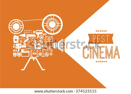 Composition with cinema decorative design elements. Cinema projector illustration for web, flyers, print design. - stock vector