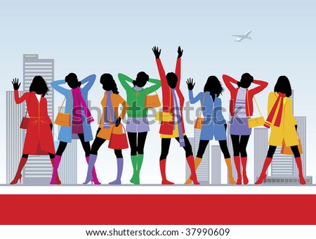 Composition with eight female figures. All women are dressed in warm clothes. Behind them the city landscape is located. - stock vector