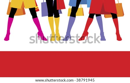 Composition with female feet. Standing four women bright boots are put on. Feet are located on a white background. - stock vector