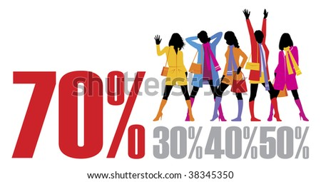 Composition with female figures. Five figures are dressed in autumn clothes. Near to them percent are located. - stock vector