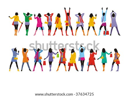 Composition with female figures. Twenty figures are dressed in bright winter clothes. They are located on a white background. - stock vector