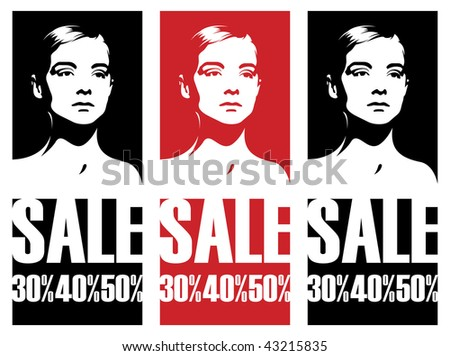 Composition with female heads. In the centre the female head on a red background is located. Under it there is inscription SALE. - stock vector