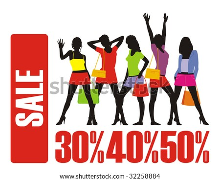 Composition with female silhouettes and percent. In the top part of a composition female figures are located. Under them different percent. - stock vector