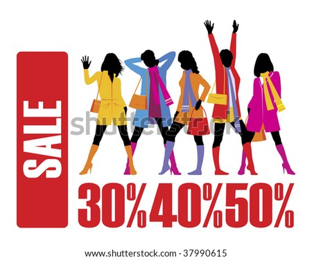 Composition with five female figures. All women are dressed in warm clothes. Under them percent are located. - stock vector