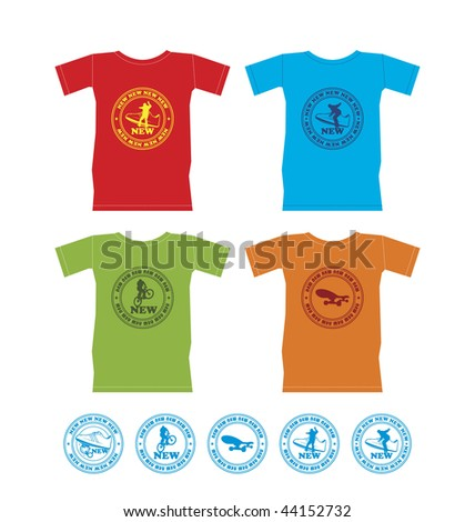 Composition with four T-shirts. On them emblems with extreme sports are represented. Nearby it is located five emblems. - stock vector