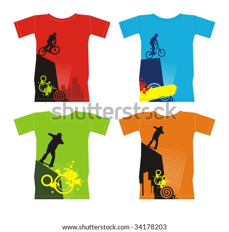 Composition with four T-shirts. On them extreme sports are represented. T-shirts are located on a white background. - stock vector