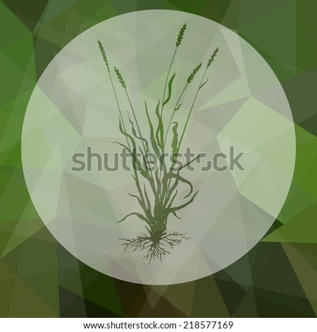 Composition with grass silhouettes with roots, ears of grass, hand drawn vector illustration - stock vector