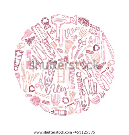 Composition with hair styling including hair dryer, hair straightener, curling iron, comb, hairspray and other tools. Hand drawn vector hair styling collection - stock vector