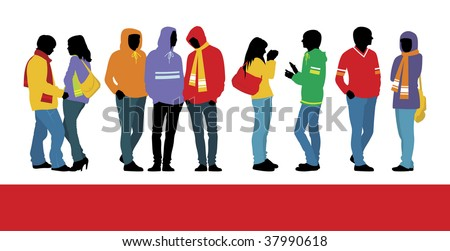 Composition with nine figures. Three female and six man's figures are dressed in warm clothes. They are located on a white background. - stock vector