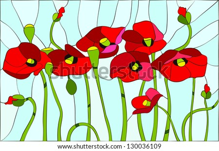 Composition with poppies. Poppies flowers angels / stained glass window - stock vector