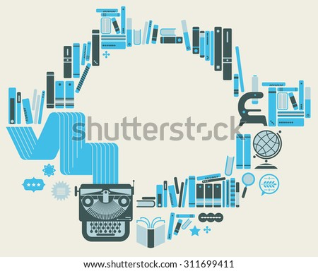 Composition with retro styled books and typewriter.  - stock vector
