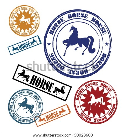 Composition with seven stamps. On them silhouettes of horses are represented. All stamps have the different form. - stock vector