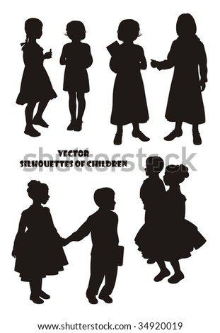 Composition with silhouettes of children. On a white background eight silhouettes are located. Six silhouettes of girls and two silhouettes of the boy. - stock vector