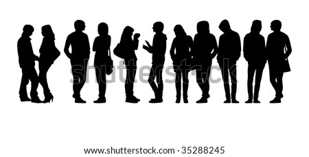 Composition with silhouettes of teenagers. Eleven black silhouettes on a white background. Four female and seven man's figures. - stock vector