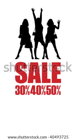 Composition with silhouettes of women. On a white background three female silhouettes are located. Under them inscription SALE and percent. - stock vector