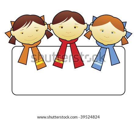 Composition with small children. In the centre the head of the boy and two heads of girls is located. Scarfs are put on them.