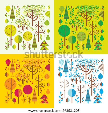 Composition with stylised geometrical in four seasons. - stock vector
