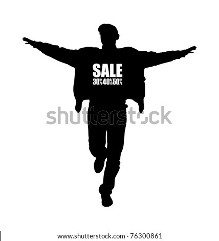 Composition with the image of a man's silhouette. The man runs having lifted hands. The silhouette has black color. - stock vector