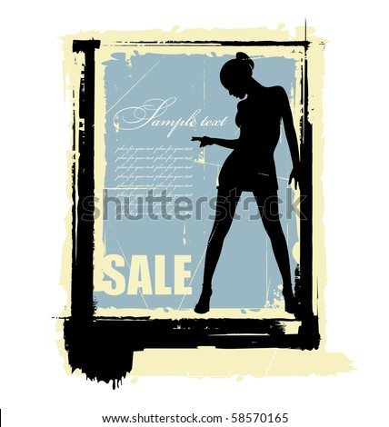 Composition with the silhouette of a woman. Her arms are raised up. Beside her a clear field for the text. - stock vector