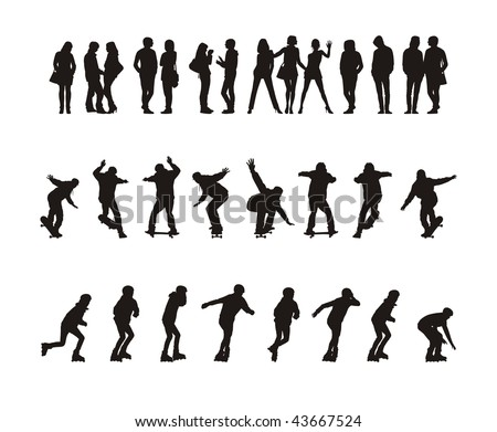 Composition with thirty silhouettes of teenagers. Fourteen silhouettes stand. Sixteen silhouettes go for a drive on skateboards and the roller fads. - stock vector