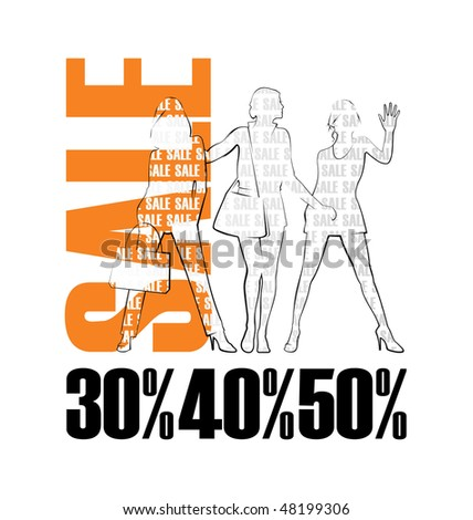 Composition with three female silhouettes. Near to them word SALE is located. Under silhouettes there are percent. - stock vector