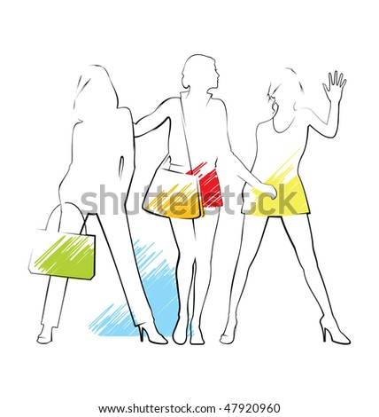 Composition with three female silhouettes. They are drawn by a thin black line. The summer clothes are put on them. - stock vector