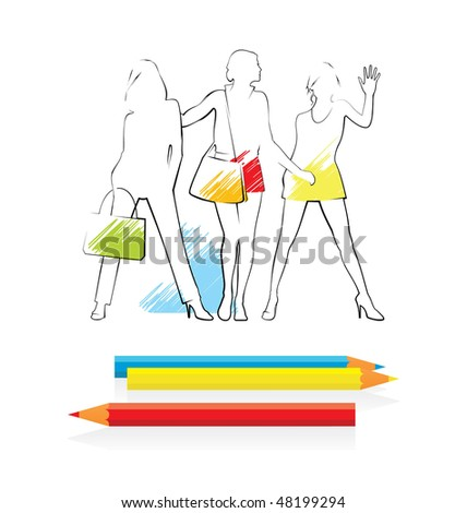 Composition with three female silhouettes. They are located on a white background. Before them colour pencils lie. - stock vector