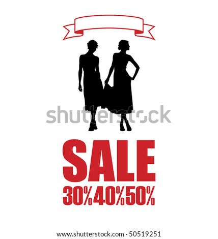 Composition with women's silhouettes. The women wore dresses. Beside them is an inscription SALE. - stock vector