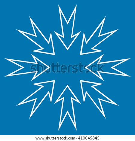 Compress Arrows vector icon. Style is outline icon symbol, white color, blue background.