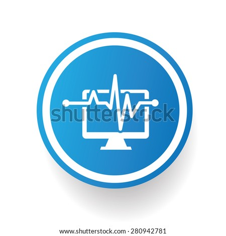 Computer analysis icon on blue button,white background,clean vector - stock vector