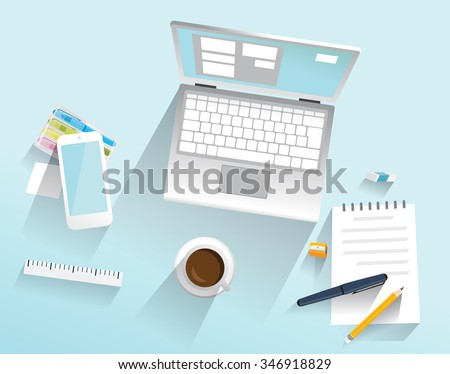 Computer and a few things on the table. Isolated objects. Laptop, mobile, coffee, notes  - Illustration - stock vector