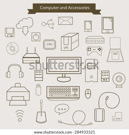 Computer and Accessories. outline icons. - stock vector