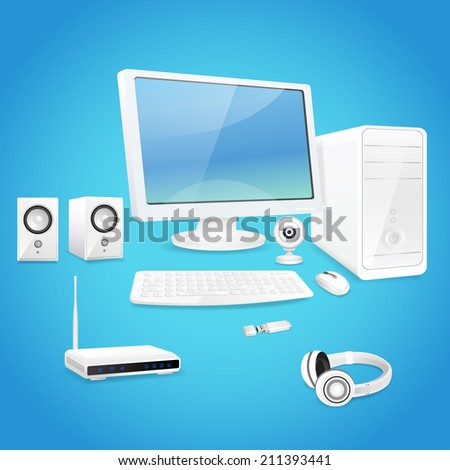 Computer and accessories set of monitor speaker keyboard isolated vector illustration - stock vector