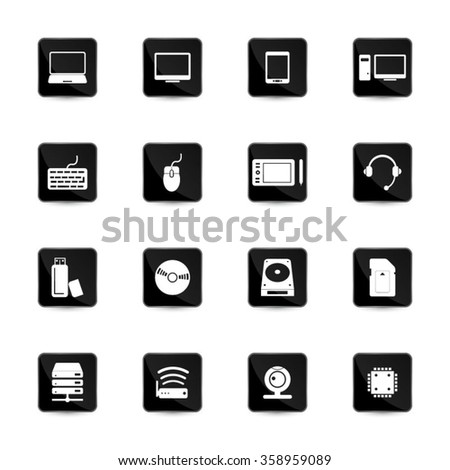 Computer and computer parts icon set